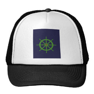 Green and red ship's wheel. trucker hat