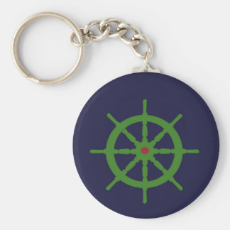Green and red ship's wheel. key chain