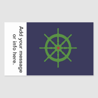 Green and red ship's wheel. rectangle stickers