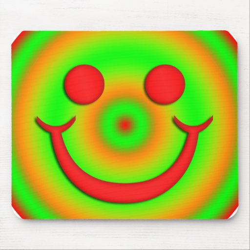 GREEN AND RED SMILEY FACE MOUSE PAD