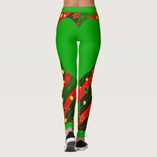 Green and Red Star and Heart Leggings