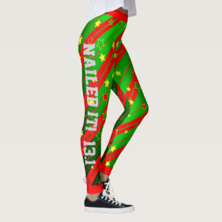 Green and Red Star Stripes Nailed it Leggings
