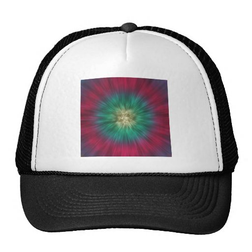 Green And Red Starburst Mesh Hat
