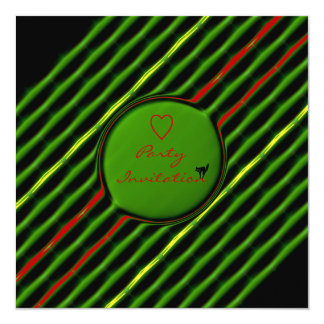 Green and Red Striped Valentine Party 13 Cm X 13 Cm Square Invitation Card