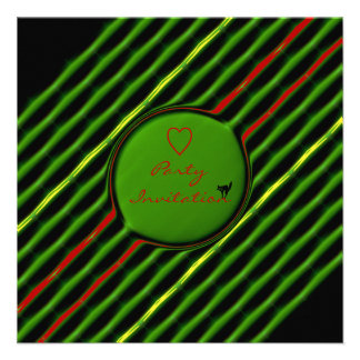 Green and Red Striped Valentine Party Custom Invitation