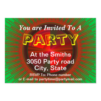Green And Red Tech Disc Fractal Pattern 5x7 Paper Invitation Card