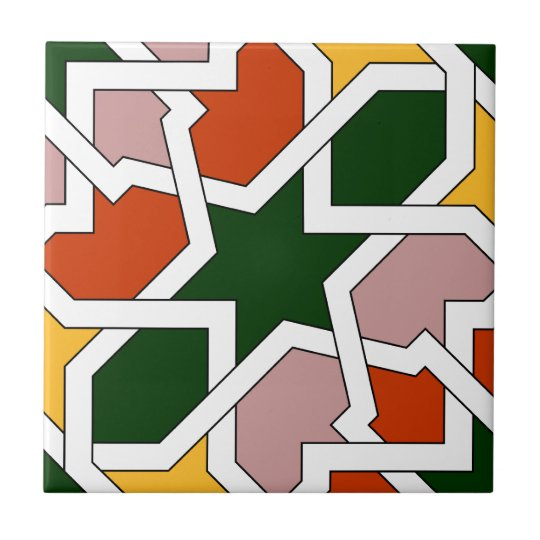 Green and red tile 01 of geometry morisca