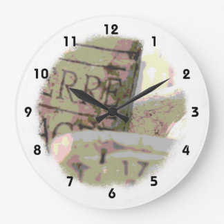 Green and Red Toned Wine Corks Wall Clocks