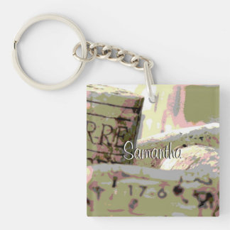 Green and Red Toned Wine Corks Custom Double-Sided Square Acrylic Key Ring