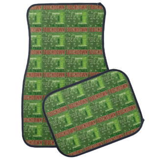 Green and Red Touch Down Football Sports Pattern Floor Mat