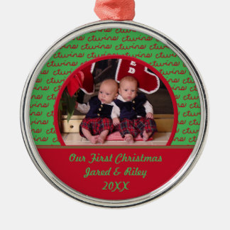 Green and Red Twins First Christmas Photo Ornament