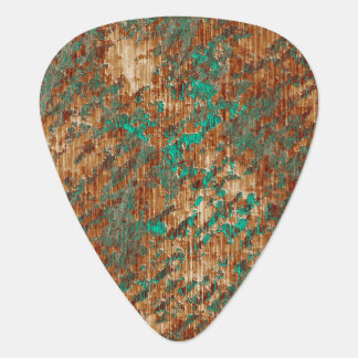 Green and Rust Abstract Mottled Grunge Pattern Guitar Pick