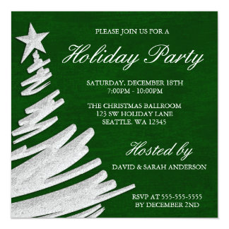 Green and Silver Christmas Tree Holiday Party 13 Cm X 13 Cm Square Invitation Card