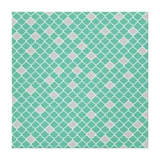 Green and Silver Moroccan Canvas Print