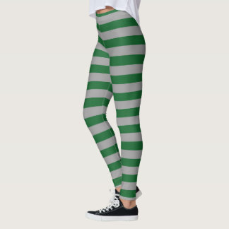 Green and Silver Stripes Leggings