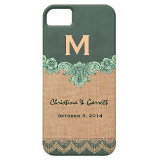 Green and Tan Burlap Vintage Monogram Wedding V30P iPhone 5 Case