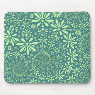 Green and Teal Blue Floral Pattern Mouse Pad