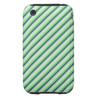 Green and Teal Diagonal Stripes Tough iPhone 3 Case