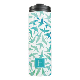 Green and Teal Watercolor Birds Pattern Thermal Tumbler