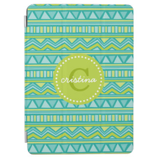 Green and Turquoise Aztec Chevron Custom Monogram iPad Air Cover