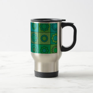 Green and Turquoise Hippie Flower Pattern Stainless Steel Travel Mug