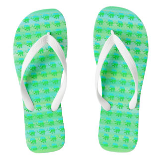 Green and Turquoise Stripes with Elephant Pattern Flip Flops