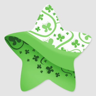 Green And White Abstract Butterflies Star Sticker