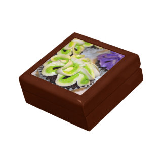 Green and White and Purple Frosted Cupcakes Gift Box