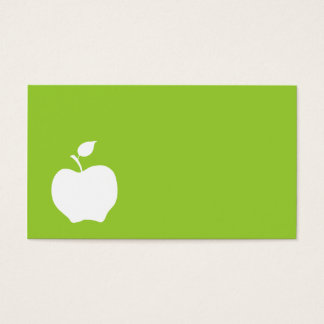 Green and White Apple Business Card