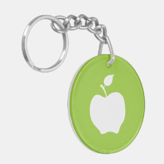 Green and White Apple Key Ring
