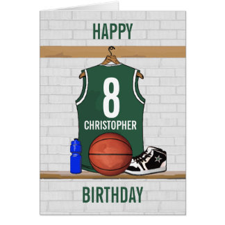 Green and White Basketball Jersey Happy Birthdday Card