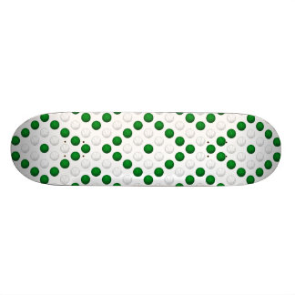 Green and White Basketball Pattern Skateboard Deck