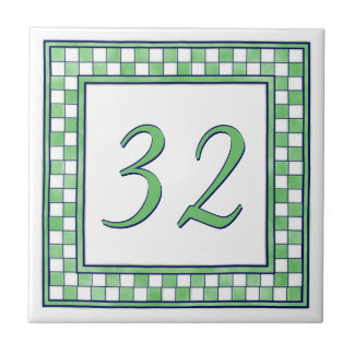 Green and White Big House Number Small Square Tile