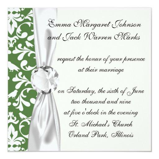 green and white bird damask pattern 13 cm x 13 cm square invitation card