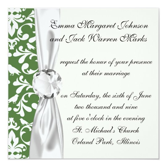 green and white bird damask pattern card
