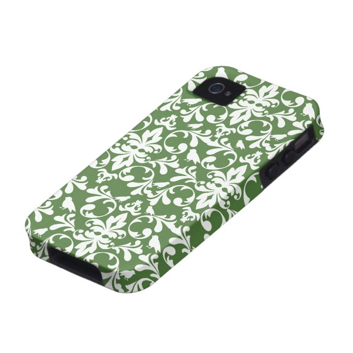 green and white bird damask pattern Case-Mate iPhone 4 covers