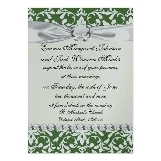 green and white bird damask pattern custom announcement