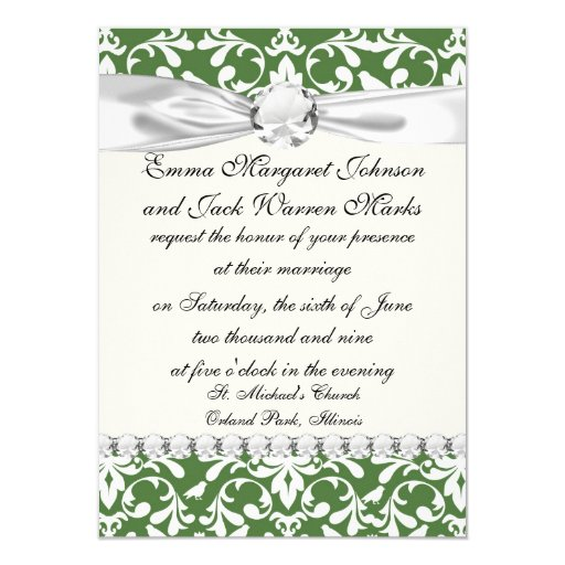 green and white bird damask pattern custom announcement