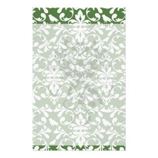 green and white bird damask pattern customised stationery