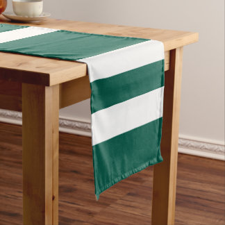 Green And White Bold Stripes Pattern Short Table Runner