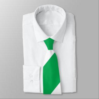 Green and White Broad Regimental Stripe Tie