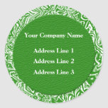 Green and White Business Address Lables Round Stickers