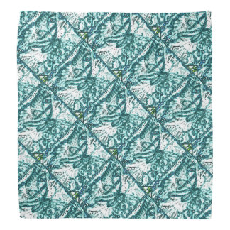 Green and White Butterfly Patterned Bandana