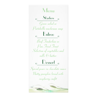 Green and White Calla Lily  Wedding Menu Card