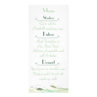 Green and White Calla Lily  Wedding Menu Card Custom Rack Card