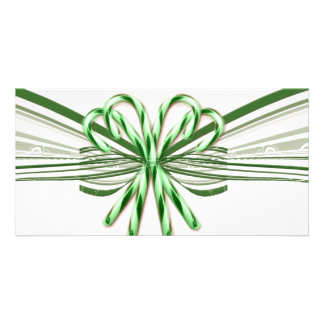Green and White Candy Cane Bouquet Photo Card Template