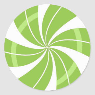 Green and white candy swirl, peppermint candy classic round sticker