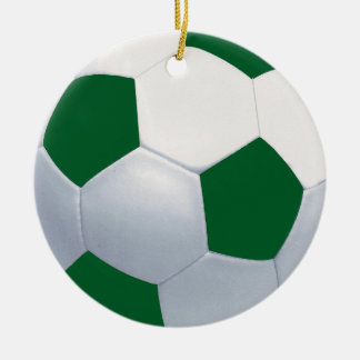 Green and White Ceramic Soccer Ball Ornament