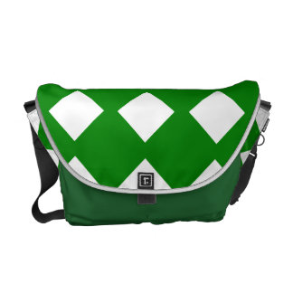 Green and White Checked Commuter Bags