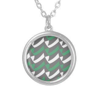 Green and White Checks Round Pendant Necklace